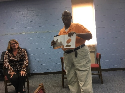Anthony Blount volunteers for a literacy program at Pamlico County Public Library